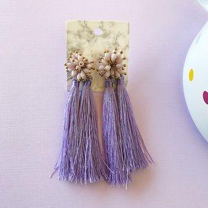 Purple Handmade Tassel Earrings